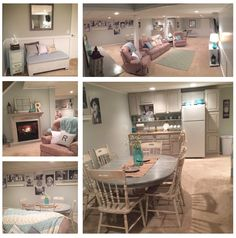 Waynes coating made with one by fours and wall painted white, walls seasalt color, painted all the thrift store garage sale furniture ..painted the cabinets and fireplace basement makeover remodel have engineering prints on the wall 1.79 sprayed fusion  on 1.00 poster and hung with commando strips