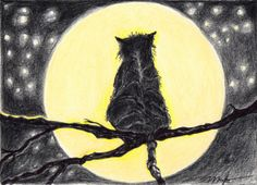 Mooning Cat by MorootsArt on Etsy, $22.00