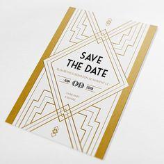 """Save the date mariage personnalisé - """"Gatsy dorure à chaud"""" : art déco, années 20, doré, or, chic, rétro chic, motifs, moderne, élégant, vintage - Paper and Love www.paperandlove.be Custom wedding save the date - """"Gatsby"""" hot gilding : art deco, 20's, vintage, gold, retro chic, pattern, elegant - Paper and Love"""