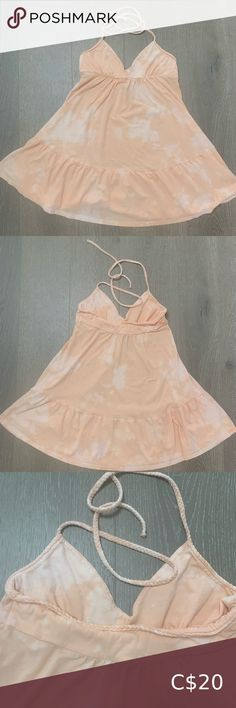 Reverse tie-dye 🍑 summer dress So cute! Perfect for the beach- this peach coloured dress has a braided halter tie & is loose and flowy.  Reverse tie dye added after purchase. Hurley Dresses Mini Peach Color Dress, Peach Colors, Babydoll Dress, Bodycon Dress, Reverse Tie Dye, Silk Floral Dress, Pink Adidas, Wrap Sweater, Red Sweaters
