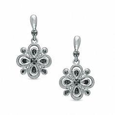 Zales Enhanced Black Diamond Accent Flower Drop Earrings in Sterling Silver