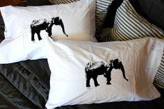 Elephant Pillowcase Pair Hand Screen Printed from Branch Handmade