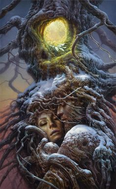 (untited) by Tomasz Alen Kopera Movement: surrealism, Type: oil on canvas, Dimensions: 105 x 65 cm / x Year: 2019 Arte Peculiar, Dark Tree, Fantasy Art Landscapes, Forest Creatures, Renaissance Paintings, Good Night Moon, Surreal Art, Tree Art, Oil On Canvas
