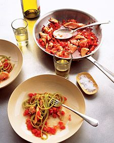 An easy way to finish off salmon leftovers is to make Salmon Pasta with Spicy Tomato Sauce. You can buy salmon as steaks or as fillets