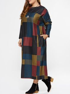 a66f6ee5 Plus Size Color Block Plaid Maxi Dress in Checked | Sammydress.com Kommode,  Kjoler