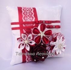 "Ring Pillows ""Spain"" Red and White Ring Pillows ""Spain"" Red and White Wedding Fabric, Red Wedding, Cloth Flowers, Fabric Flowers, Ring Pillows, Throw Pillows, Shibori, Red And White Weddings, Kanzashi Tutorial"