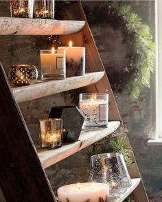 Rustic ladders are a must at a rustic wedding! Candles, flowers, photos, fill those steps with everything you love.