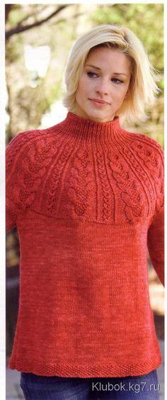 Пуловер с рельефной кокеткой | Клубок