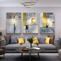 3 pieces gold art abstract painting canvas wall art picture for living room bedroom home wall decor original acrylic gray texture decoration Living Room Bedroom, Home Decor Bedroom, Living Room Decor, Dining Room, Hallway Wall Decor, Frame Wall Decor, Framed Wall, Framed Canvas, Grey And Yellow Living Room