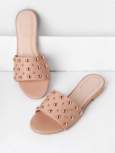 SheIn offers Beaded Detail Flat Sandals & more to fit your fashionable needs. Shoes Flats Sandals, Cute Sandals, Flat Sandals, Cute Shoes, Shoe Boots, Gladiator Sandals, Leather Sandals, Fashion Slippers, Fashion Shoes