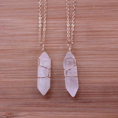 Clear Quarts Gold Wrapped Crystal Chain @jadeleannerobin #bohemianjewelry #contest #win