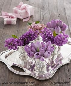 Beautiful purples.... #tulips #hyacinth #silverantiques #sandrakaminski #geoffhedleyphotography #springflowers