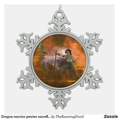 Dragon warrior pewter snowflake ornament