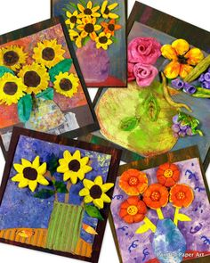 Model Magic air dry clay and painted paper make for a stunning art project that my students absolutely love. Have fun creating these mixed media pieces of art inspired by the f…
