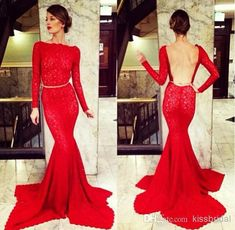 2014 Michael Costello Red Long Sleeve Evening Gowns Evening Dresses | Buy Wholesale On Line Direct from China