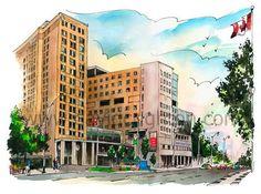 Toronto General Hospital by Canadian Illustrator and Artist David Crig – David Crighton Art