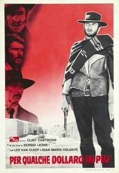 For A Few Dollars More Italian movie poster. 4F. Sergio Leone. Clint Eastwood. Lee Van Cleef
