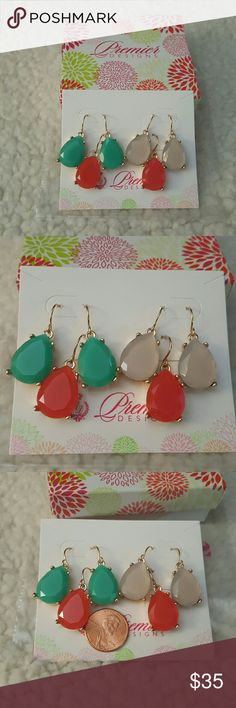 Gem Drops by Premier Designs New in box! Gem Drops earrings by Premier Designs!  Set of 3 different colors! Gold tone, resin. Just adorable! Original box but original sticker removed.  3 pairs approximate colors are coral, aqua and pearlescent. Firm Premier Designs Jewelry Earrings