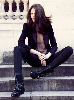 ☆ Rock 'n' Roll Style ☆ Black suit. Strappy boots. (Inga by Inga Savits Fall/Winter 2012 campaign)