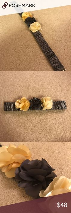 Anthropologie Flowers Belt Anthropologie Flowers Belt - yellow, cream and grey. Approximately 29 inches but it is elastic and can stretch to approximately 40 inches. Anthropologie Accessories Belts