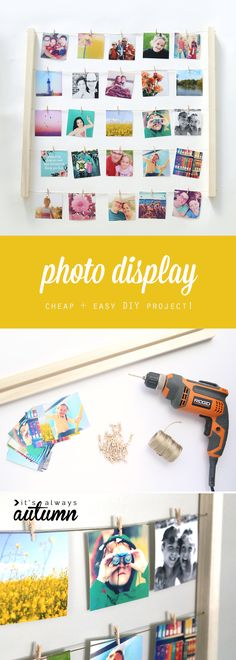 Learn how to build this easy an inexpensive photo display, perfect for instagram photos! Cheap DIY handmade gift or home decor. #ad