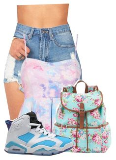 """How i walk to a party in the summer"" by pinkswagg15 ❤ liked on Polyvore featuring Candie's and NIKE"