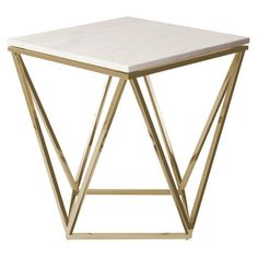 """A striking side table with gold brushed legs in a geometric design with a square marble top. Also available in black or as a coffee table. - Dimensions: 19""""L x 19""""W x 22""""H - Materials: Marble; Stainle"""