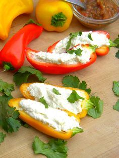 Raw Vegan Cream Cheese & Baby Bell Peppers! I WANT TO MAKE THESE TONIGHT! Lol...***sigh*** <3