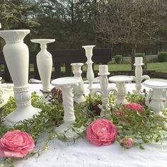 White Wedding Candle Holder Collection Shabby Chic Table Centerpiece set of 9