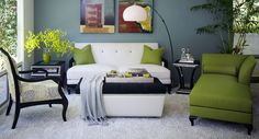 After Eight Living Room Set (Cream/Green)