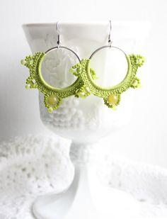 Apple Green Crochet Bead Hoop Dangle Earrings