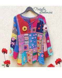 """Crochet Tunic Gypsy Boho Blouse Top Pullover Colorful Patchwork """"Gipsy Queen""""…"""