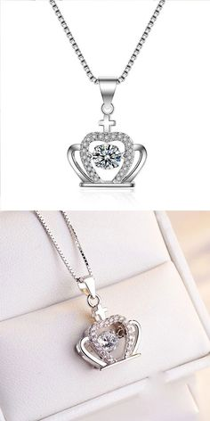 Color:As the Silver/CrystalStyle: Girlfriend Gift/FashionFashion Element:Crown/Diamond/CrossOwn this crown necklace, You become my queen! Pretty Necklaces, Cute Necklace, Girls Necklaces, Simple Necklace, Women Accessories, Fashion Accessories, Jewelry Accessories, Elephant Necklace, Necklace Designs