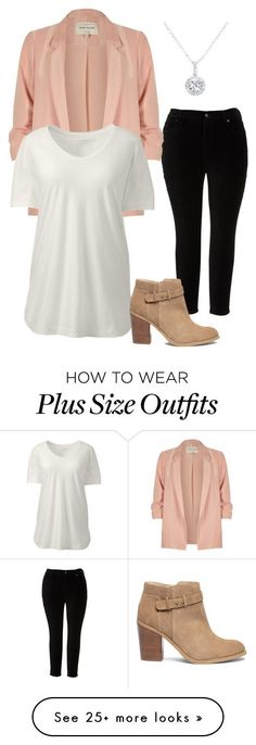 """Pretty in Pink - Business Casual"" by cidnee-kroenlein on Polyvore featuring Melissa McCarthy Seven7, River Island, Lands' End, Sole Society, EWA and plus size clothing"
