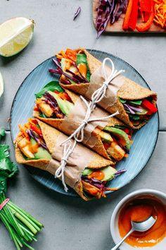 Spicy Thai Flaxseed Wraps #vegan #veryveggie