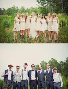 A wonderfully mismatched wedding party.
