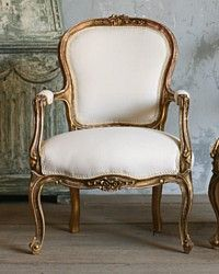 Vintage Louis XV French style Serpentine Armchairs Shabby Gold