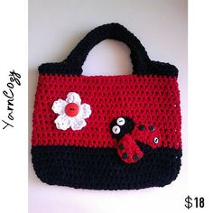 Crochet Easter Basket, Ladybug Purse, Ladybug Easter Basket Check out this item in my Etsy shop https://www.etsy.com/listing/191219537/easter-basket-ladybug-purse-crochet Also YarnCozy on Facebook and @yarncozy on instagram