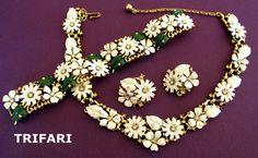 """Famous Trifari White Enamel """"Field Flowers"""" Parure  -  Advertisement Piece"""