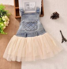 2241165c1a3 RSS Boutique 9-12 Months Denim Jumper Overalls for Baby Girls Ivory Cream  Tulle Girls Dresses