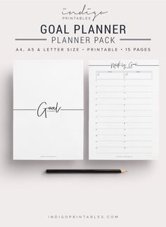 Goal Planner Pack, 15 Pages, Printable | Created by @IndigoPrintables  The Goal Planner Pack contains all the key planning sheets youll need to set and track your goals for the next 12 months. It also contains a monthly tracking sheet so you can track activities and habits. This pack has been designed to look elegant and sleek; and to function beautifully in your planner with enough space for hole punching on either side. :::::::::::: WHAT'S INCLUDED :::::::::::: Your Printable comes in A4…