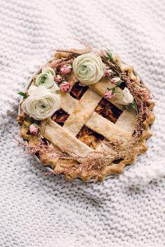 apple pie with floral garnish