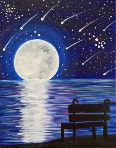 Join us for a Paint Nite event Sun Aug 2016 at 274 Fourth Avenue Brooklyn, NY. Purchase your tickets online to reserve a fun night out! Star Painting, Moon Painting, Painting & Drawing, Easy Canvas Art, Easy Canvas Painting, Watercolor Illustration, Watercolor Paintings, Silhouette Painting, Moon Art