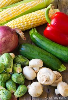 """Grilled Vegetable Kabobs: A healthy vegetarian skewer recipe loaded with fresh summer veggies and """"fajita butter. Vegan Lunch Recipes, Kabob Recipes, Grilling Recipes, Camping Recipes, Veggie Recipes, Diet Recipes, Grill Vegetables In Foil, Fajita Vegetables, Vegetarian Skewers"""