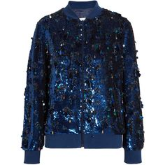 Ashish Sequined silk-georgette bomber jacket ($1,930) ❤ liked on Polyvore featuring outerwear, jackets, blue sequin jacket, blue jackets, ashish, tassel jacket and zip bomber jacket