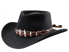 """Akubra The Croc Hat Imperial Quality. The authentic black Akubra hat made famous by Paul Hogan in the """"Crocodile Dundee"""" movie trilogy. Fully lined and shaped with a raw edge. Genuine crocodile leather hatband with 6 crocodile teeth. Gotta get one, Mate! Aussie Hat, Akubra Hats, Crocodile Dundee, Felt Cowboy Hats, Leather Workshop, Western Hats, Leather Hats, Mens Gear, Love Hat"""