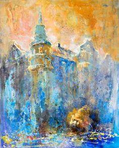 Kunstsamlingen | Artist: Natalia Fedoseeva Watts | Title: Blue City | Height: 100cm,  Width: 80cm | Find it at kunstsamlingen.dk