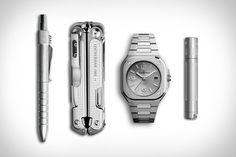 Leatherman Free P4 Multitool <> Bell & Ross BR 05 Grey Steel Watch <> Maglite LED Flashlight <> Karas EDK Pen.