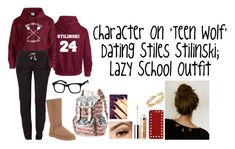 Character On 'Teen Wolf' Dating Stiles Stilinski; Lazy School Outfit by a-torres2018 on Polyvore featuring polyvore, fashion, style, Reebok, UGG Australia, Mudd, De Beers, Valentino, Clinique and Lancôme