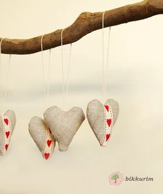 Set of 4 linen hearts. Ornaments. Home decor. Decoration. Scandinavian. Nordic. Finnish. Natural. Christmas. Christmas tree. 4 for $11.73